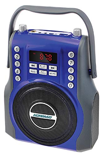 KORAMZI Karaoke Portable Rechargeable Boombox with Bluetooth,USB,SD, FM Radio, AUX in, 3.5 mm Audio Jack, Bluetooth Call Answering, Electric Guitar Audio Input, MIC Jack KS-200BL (Blue)