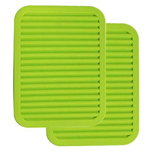 22,9 x 30,5 cm große Silikon-Untersetzer – Mehrzweck-Silikon-Topfhalter, Löffelablage und Küchentischmatte – isoliert, flexibel, langlebig, rutschfeste Pads und Untersetzer (2 Set) grün