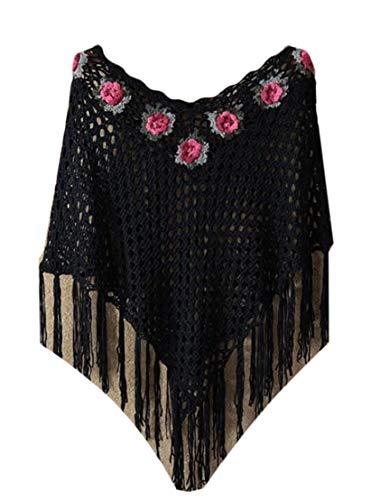 GRMO Damen Poncho/Bluse mit Spitze, florales Design, Retro-Quasten, Baumwolle/Leinen Gr. Einheitsgröße, Schwarz