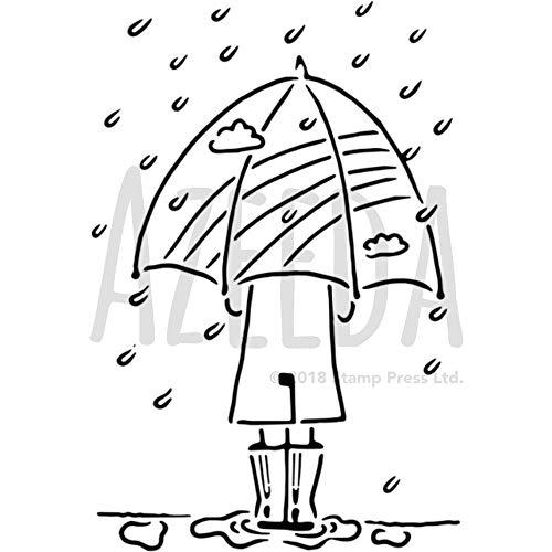 Azeeda A5 'Regenschirm im Regen' Wandschablone / Vorlage (WS00001152)