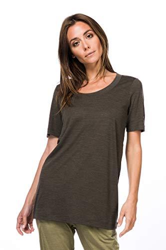 super.natural Langes, oversize Damen T-Shirt, Mit Merinowolle, W OVERSIZE TEE, Größe: S, Farbe: Khaki meliert
