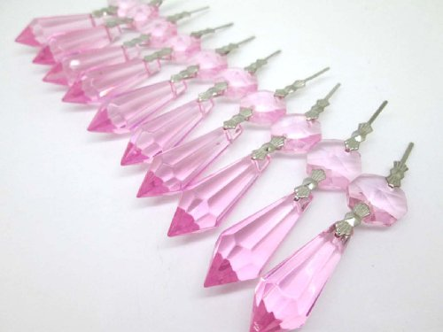 Sun Cling Chandelier Icicle Crystal 38mm, Pack of 20 (Pink)