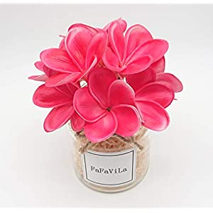 Bunch of 10 PU Real Touch Lifelike Artificial Plumeria Frangipani Flower Bouquets Wedding Home Party Decoration (Plumeria-10 pcs, Rose Red)
