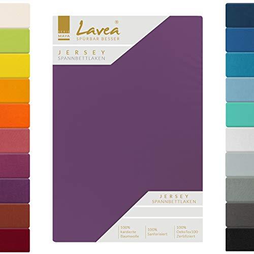 Lavea Jersey Spannbettlaken, Spannbetttuch, Serie Maya, 140x200cm | 160x200cm, Dunkellila, 100% Baumwolle, hochwertige Verarbeitung, mit Gummizug