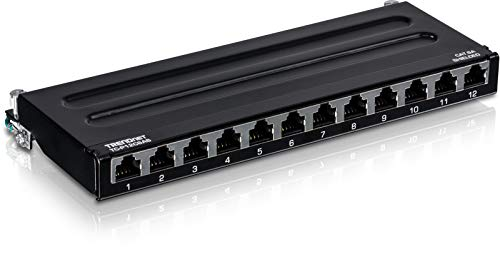 TRENDnet 12-Port Cat6A Shielded Patch Panel, TC-P12C6AS, Wall Mount, 10G Ready, Cat5e/Cat6/Cat6A Compatible, Metal Housing, Color-Coded Labeling for T568A & T568B Wiring, Cable Management