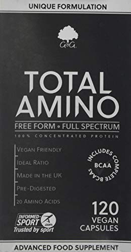 G&G Vitamins Total Amino Full Spectrum, Free Form Amino Acids Including BCAA Capsules, 120-Count