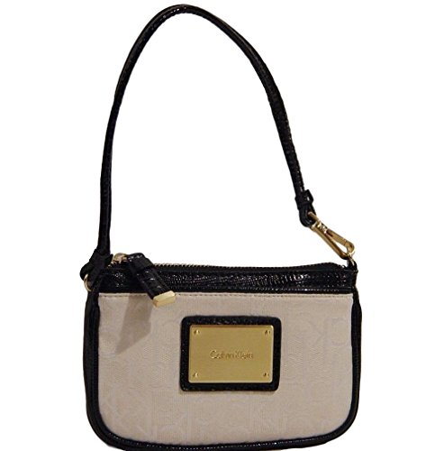 """Logo jacquard with faux lizard leather trim; Gold-tone hardware Top zipper closure Front slip pocket Handle or wristlet strap can be attached to zipper Dimensions: 6.5"""" W X 4.25"""" H X 1"""" D; 6.5 handle drop"""