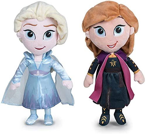 Disney - Pack 2 Peluches 11'81'/30cm Principesse di Frozen - Il Regno di Ghiaccio - Elsa + Anna qualità Super Soft