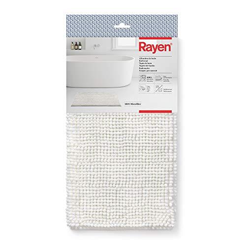 Rayen Tapis de Bain Base antidérapante | Microfibres 100% | Ultra-Doux Miltifunctional | Dimensions: 80 x 50 cm | Blanc, Medida