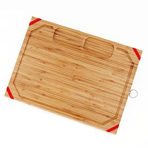 Tabla de cortar única de bambú grande, tabla de cortar orgánica con agarres de goma antideslizantes, con 2 compartimentos especialmente diseñados para carne de cebolla de ajo, sin BPA