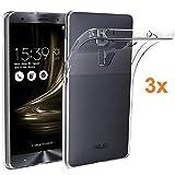 REY 3X Funda Carcasa Gel Transparente para ASUS ZENFONE 3 Deluxe, Ultra Fina 0,33mm, Silicona TPU de Alta Resistencia y Flexibilidad