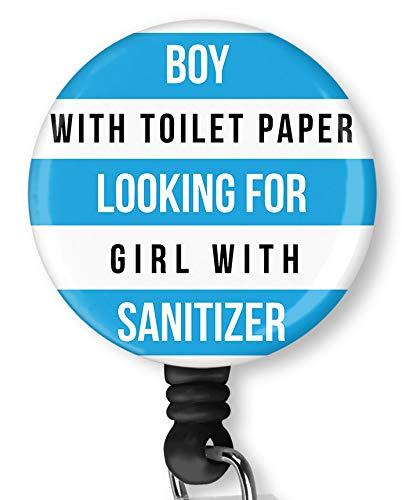 Boy with Toilet Paper Retractable Badge Reel with Alligator Clip,Name Nurse ID Card Badge Holder Reel, Decorative Custom Badge Holder
