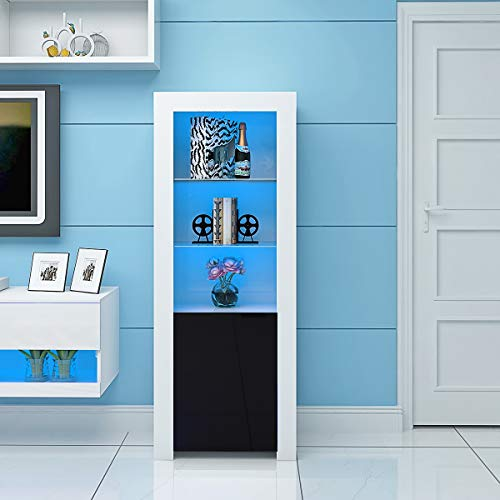 PananaHome Modern Tall Display Cabinet Cupboard High Gloss Fronts Storage Cupboard with Blue LED Lights Living Room Black and White