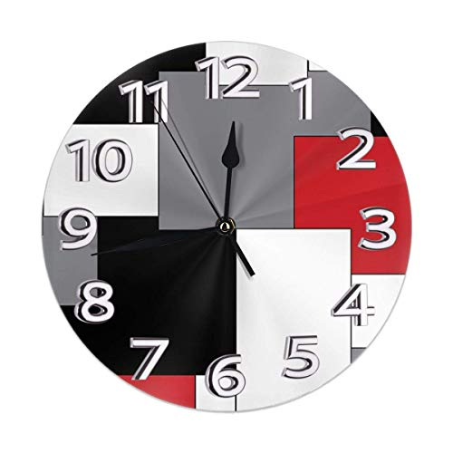 Night Ing Orologio da Parete Rotondo Irregolare Bianco, Grigio, Nero e Rosso Orologio da Parete Rotondo Durevole per Aula Soggiorno