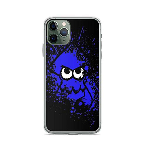 Phone Case Splatoon Black Squid with Blank Eyes On Blue Splatter Compatible with iPhone 6 6s 7 8 X XS XR 11 Pro Max SE 2020 Samsung Galaxy Bumper Charm