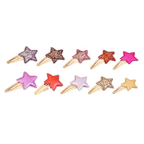 Beaupretty 10Pcs Pince à Cheveux Étoile Paillettes Réversibles Arcs Barrettes pour Bébé Fille Tout-Petits Enfants Argent Doré Rose Violet Rouge