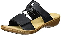 Rieker Damen Sandalen 60885, Frauen Clogs, Pantoletten, Women Woman Freizeit leger Slipper Slides hauschuh Dame-n,schwarz / 00,36 EU / 3.5 UK