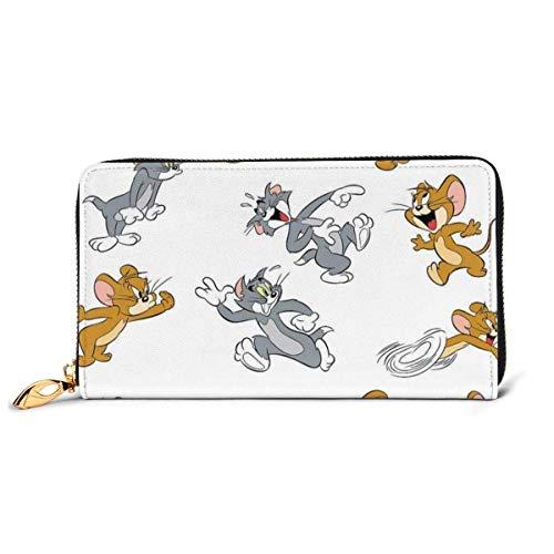 Tom Jerry Cartera de piel auténtica con cierre de cremallera alrededor del titular de la tarjeta, organizador de embrague, bolsa de teléfono