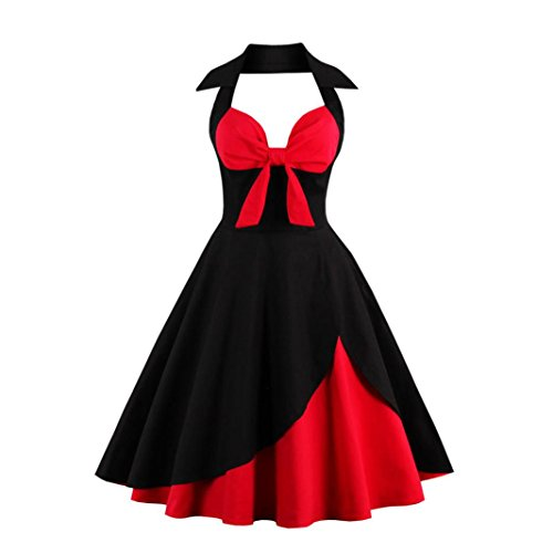 OVERDOSE Damen Vintage Reizvolles Neckholder Rockabilly 50er Vintage Retro Kleid Petticoat Faltenrock Schwingen Kleid (A-Schwarz,46 DE / 4XL CN)