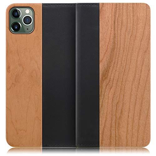 LOOF Nature iPhone 11 Pro Max ケース 手帳型 カバー 天然木 本革 ウッド 手帳型ケース 手帳型カバー 携帯ケース 携帯カバー スマホケース スマホカバー ベルト無し 木製 スタンド機能付き カード収納 カードポケット (桜)