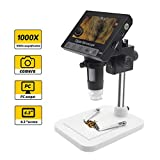 LCD Digital Microscope, 4.3 Inch Endoscope Record 1000X Magnification Zoom...