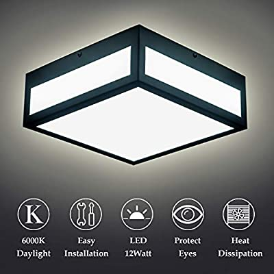 Led Ceiling Lights Industrial Flush Mount Light Fixture Black Rustic Ceiling Lamp with Square Shape for Hallway, Entryway, Cafe, Bar, Corridor, Farmhouse, Bar 6000K
