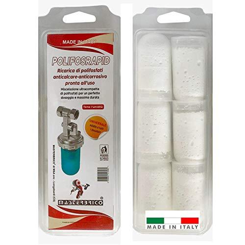 Ricariche Polifosfati per Caldaie 6 pezzi Anticalcare Anticorrosivo Pronte all uso Adatto a Tutti i Dosatori, polifosfati per caldaia ricariche, polifosfato in polvere per dosatori