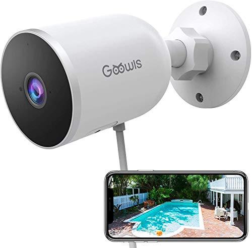 Telecamera WiFi Esterno, Goowls 1080p Videocamera Sorveglianza IP Esterna Senza Fili IP65 Visione Notturna Impermeabile con PIR Rilevazione Movimento, Audio Bidirezionale, Compatibile con Alexa