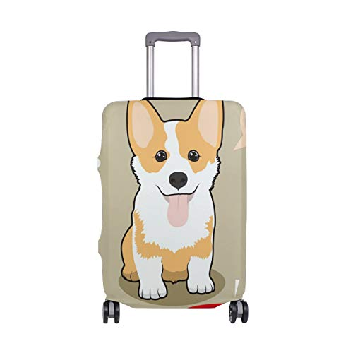 Animal Cute Dog Corgi Luggage Cover Protector Spandex Elastic Suitcase Baggage Cover Washable Fits 29-32 Inch