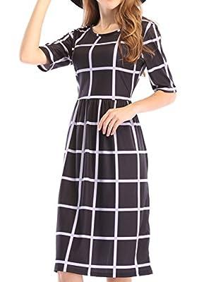 Yomoko Women's Pleated Checkered Dress, Half Sleeve Plaid Dresses Swing T Shirt With Pockets