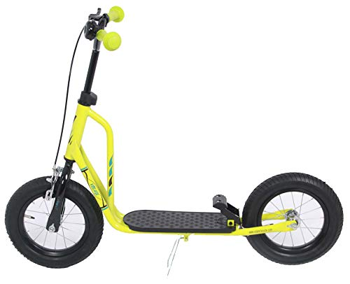 Volare Kinderroller 12 Zoll Lime - Tretroller mit Klingel, Felgen- und Fußbremse
