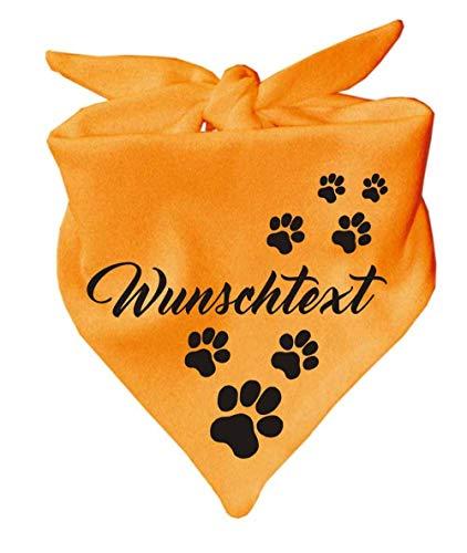 KLEINER FRATZ Hunde Dreiecks Halstuch (Fb: gelb) (Gr. 2 (68 cm)) mit Ihrem Wunschtext
