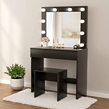 Mecor Makeup Vanity Table Set w/10 LED Lights Mirror Vanity Table with Stool & Drawer Wood Dressing Table Bedroom Furniture for Girls Women Gifts - Black