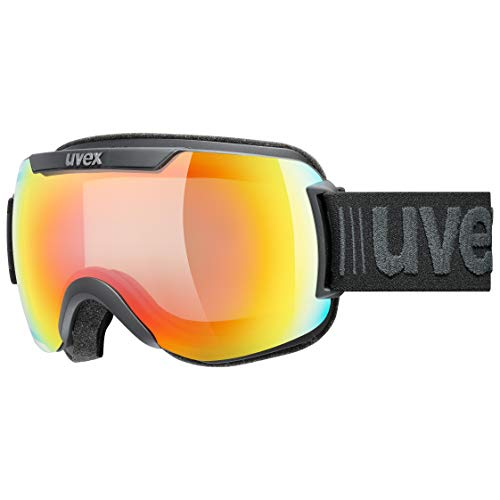 uvex Downhill 2000 V, Maschera da Sci Unisex Adulto, Black Mat/Rainbow-Clear, one size