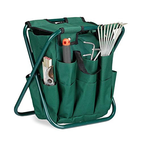 Relaxdays Gartenwerkzeug Hocker, Gartengeräte Aufbewahrung, klappbar, HxBxT: 42 x 30 x 39 cm, Klapphocker Gartenarbeit, grün