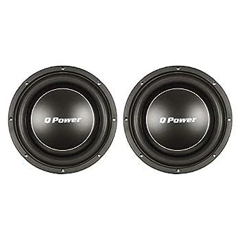 Q Power Deluxe 10 Inch Shallow Mount 1000 Watt Flat Car Subwoofer  2 Pack