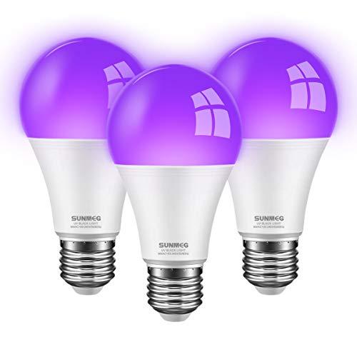 SUNMEG 9W UV Schwarzlicht Glühbirne, 3er-Pack E27 LED UV Leuchtmittel 395-400nm Wellenlänge, für Schwarzlichtpartys Party Club Bar Halloween [Energieklasse A+]