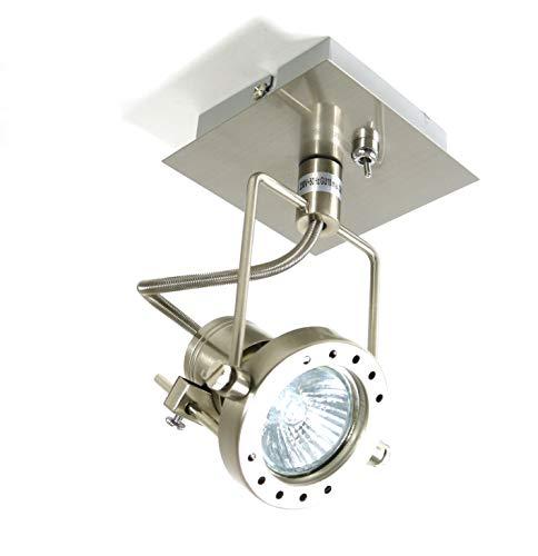 LED-Wandleuchte-Spot JET-LINE, Kipp-Schalter, nickel, inklusive LED-Leuchtmittel GU10 1x 7W,Deckenplatte D: 10x10 cm, Decken-Schaufenster-Büro-Strahler-Spot-Leuchte-Lampe