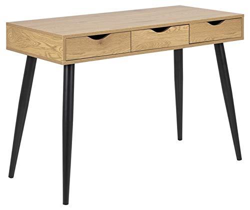 HomestreetUK Skandi Neptune Escritorio moderno de melamina y metal retro mesa de tocador, mesa consola con 3 cajones, color blanco, roble salvaje o negro (patas negras de roble)