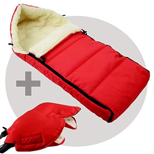 Saco de dormir de invierno de 90 cm de lana de cordero para cochecito, silla de paseo o remolque de bicicleta, diseño de lana rojo