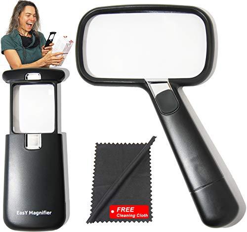 Easy-Magnifier Lupa de lectura grande, lupa de bolsillo 2 veces, 3 veces...