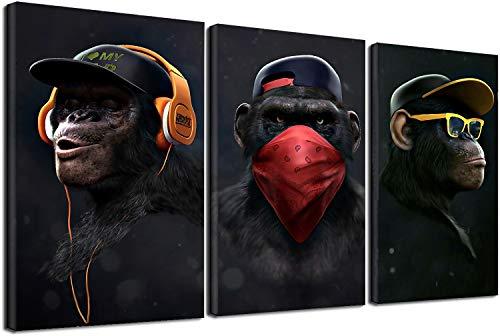 Wise Swag Scimmia Tela Arte Da Parete Quadro, Chimps Auricolare Animale Tela Pittura Per Soggiorno Moderno Home Decor 3 Pz Senza Cornice (60x90cm)