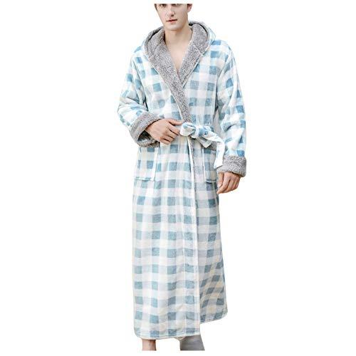 RENJIA IHGWE Paar Plaid Nachthemd Kapuze Flanell Nachthemd Damen Kurz oder Lang Sherpa Wolle Fleece Pyjama Herren Kapuze Sauna Anzug