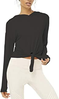 Mippo Womens Long Sleeve Workout Gym Running Crop Top Tie Knot Front Cropped Sweatshirt Hoodie