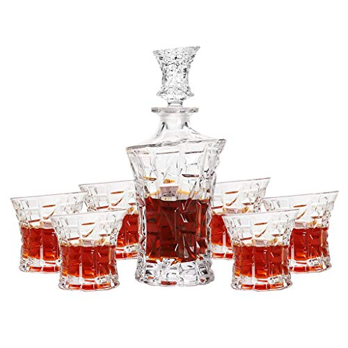 Cut-Glass Whisky Decanter (52cl) en Tumbler (20cl) Gift Set (7stuks)