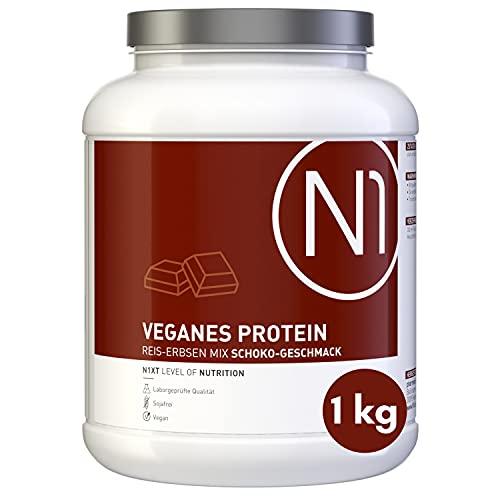 N1 Vegan Protein Eiweißpulver 1kg Dose [100% Pflanzlich] Protein Pulver Schoko - Eiweiß Muskelaufbau, Eiweißpulver zum Backen, Mehrkomponenten Protein, Whey Protein vegan, Eiweiss Shake, Proteine
