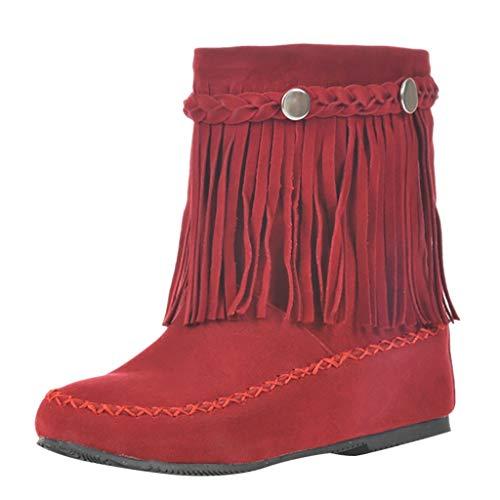Stivaletti Donna Stivali da Neve con Pelliccia Caldo Scarpe Boots Invernali Antiscivolo Stile Britannico a Tubo Corto con Nappa smerigliata Stivali alla Caviglia (38,1Rosso)