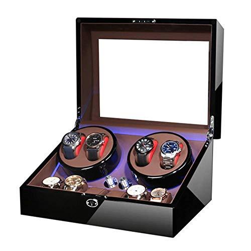 JYTFZD HAOYANG-Caja de Reloj- Caja de Winder de Reloj automática para 4 Reloj + 6 Almacenamiento Azul LED LED Pintura Pintura Pintura Termina Cadena CAPADOR ACAPTADOR Y HDDSBHQ-582