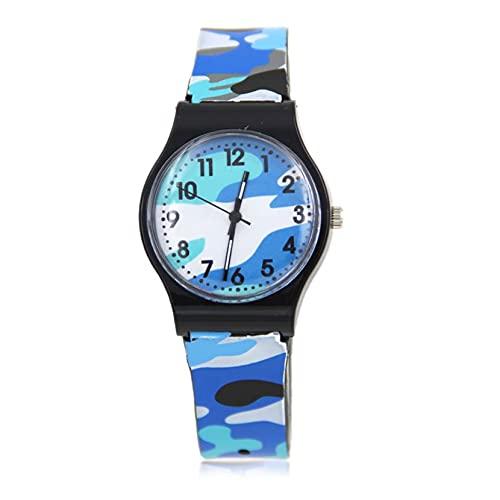 Reloj de pulsera de plástico para niños y niñas, analógico, de cuarzo, deportivo, reloj de camuflaje