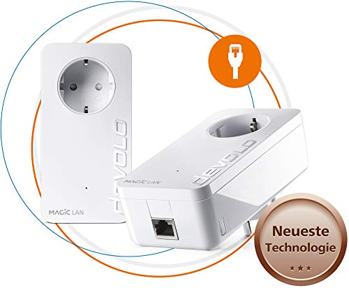 devolo Magic 1 – 1200 LAN Starter Kit: Set mit 2 Powerline-Adaptern für Internet im ganzen Haus, ideal fürs Home-Office (1200 Mbit/s, 1x Gigabit LAN-Anschluss, G.hn)